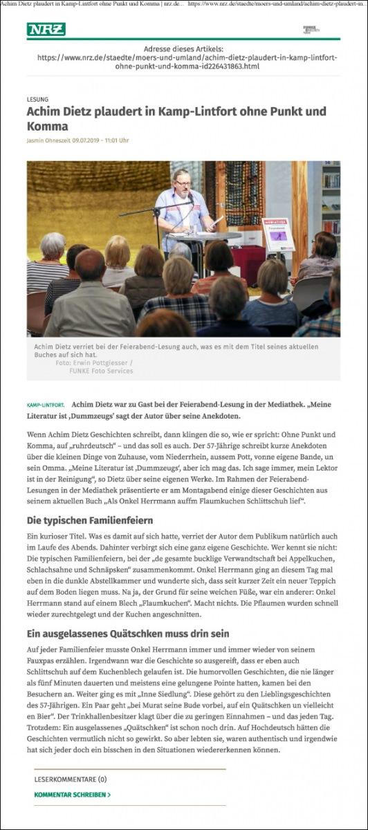 09.07.2019 Artikel in der NRZ